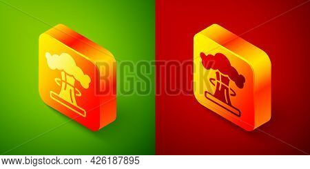 Isometric Nuclear Explosion Icon Isolated On Green And Red Background. Atomic Bomb. Symbol Of Nuclea