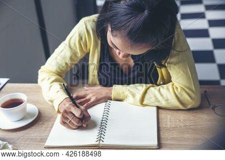Planner Plan Schedule Calendar And Reminder Agenda, Work At Home. Women Hand Planning Daily Appointm