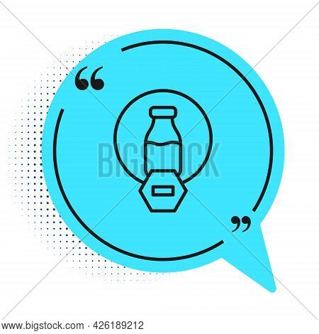 Black Line Lactose Free Icon Isolated On White Background. Blue Speech Bubble Symbol. Vector