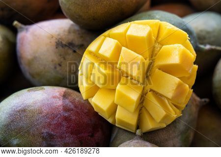 Mango With Yellow Sweet And Juicy Pulp Sliced Into Cubes