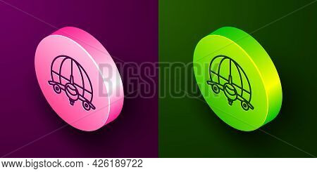 Isometric Line Globe With Flying Plane Icon Isolated On Purple And Green Background. Airplane Fly Ar
