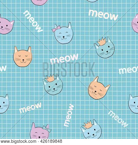 Cat Seamless Pattern. Children's Cartoon Characters. Cute Kittens With Accessories: In A Crown, With