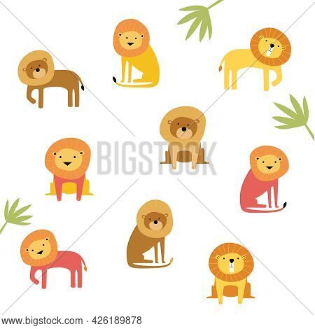 Vector Set Of Cute Drawn Lions. Lions In Different Poses. Pink Lion, Brown Lion. A Family Of Lions.