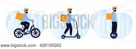 Delivery Man Delivers Food By Electric Bike, Scooter, Monowheel. Eco Transport. Transportation And G