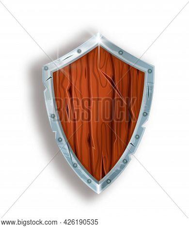 Wooden Game Shield, Vector Fantasy Medieval Warrior Armor Illustration, Cartoon Knight Safe Inventor