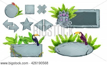 Stone Game Button Set, Jungle Rock Ui Design Element Collection, Toucan, Tropical Leaf, Maya Tiki Ma