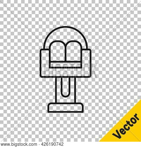 Black Line Attraction Carousel Icon Isolated On Transparent Background. Amusement Park. Childrens En