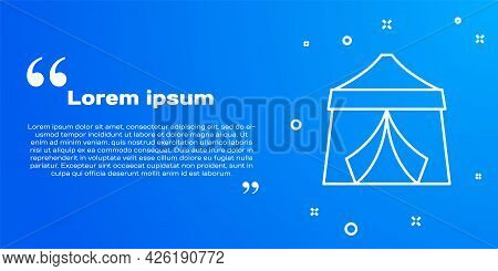 White Line Circus Tent Icon Isolated On Blue Background. Carnival Camping Tent. Amusement Park. Vect