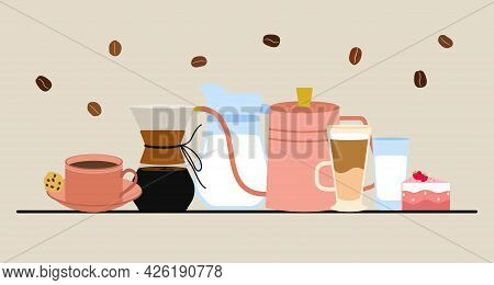 Set Of Vector Images On The Theme Of Coffee. Milk, A Jug Of Milk, A Glass, A Cup Of Tea, A Cup Of Co