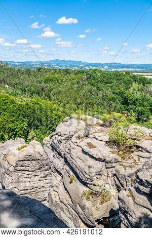 Prihrazy Rocks, Czech: Prihrazske Skaly, On Sunny Summer Day. Bohemian Paradise, Czech Republic