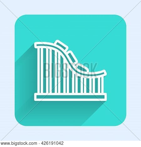 White Line Roller Coaster Icon Isolated With Long Shadow Background. Amusement Park. Childrens Enter