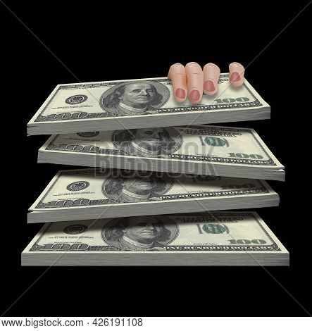A Woman's Hand Is Seen Grabbing A Stack Of One Hundred Bills In This 3-d Illustration About Money Gr