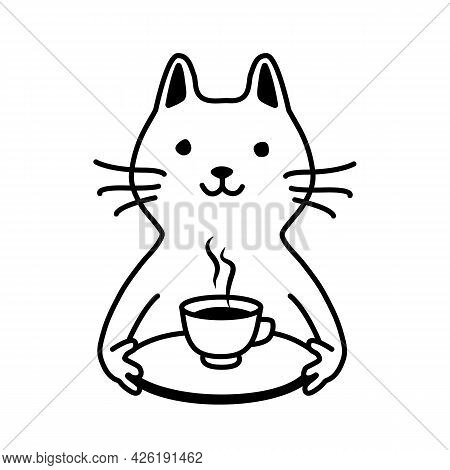 Cute Smiling Cat Serves You Coffee Or Tea On A Tray. Coffee In Bed. Simple Animalistic Black And Whi