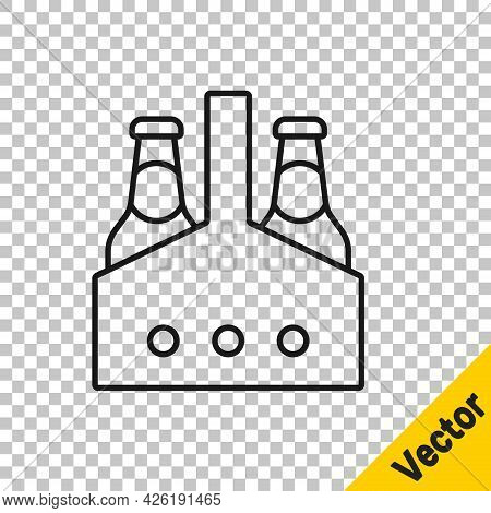Black Line Pack Of Beer Bottles Icon Isolated On Transparent Background. Case Crate Beer Box Sign. V