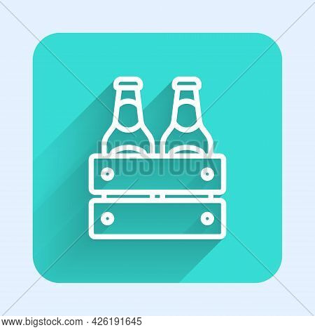 White Line Pack Of Beer Bottles Icon Isolated With Long Shadow Background. Wooden Box And Beer Bottl