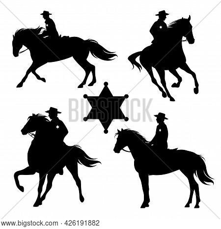 American Sheriff Officer Riding Horse - Wild West Mounted Ranger Black And White Vector Silhouette S