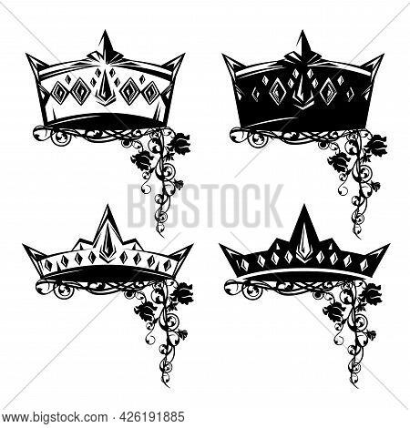 Medieval Fairy Tale Royal Crown And Rose Flowers Black And White Vector Outline Design Set