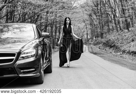 Traveling And Vacation. Travel By Car. Transport Concept. Auto Service. Rich People Lifestyle. Start