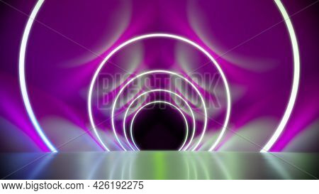 A magenta neon lights tunnel background. 3D illustration