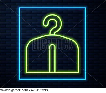 Glowing Neon Line Hanger Wardrobe Icon Isolated On Brick Wall Background. Cloakroom Icon. Clothes Se