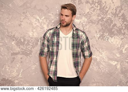 After His Own Fashion. Handsome Man Abstract Background. Fashion Look Of Young Guy. Casual Fashion S
