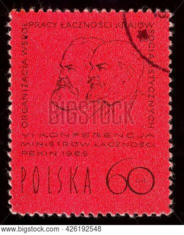 Poland - Circa 1965: Postage Stamp Printed In The Poland, Dedicated To Communist Leaders Karl Marx A