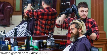 Cool And Trendy. New Stylish Haircut. Mature Hipster With Beard. Mature Caucasian Guy With Moustache