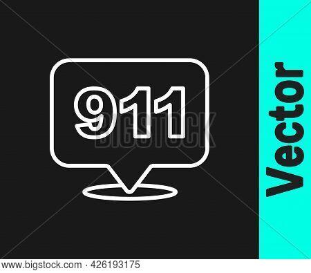 White Line Telephone With Emergency Call 911 Icon Isolated On Black Background. Police, Ambulance, F