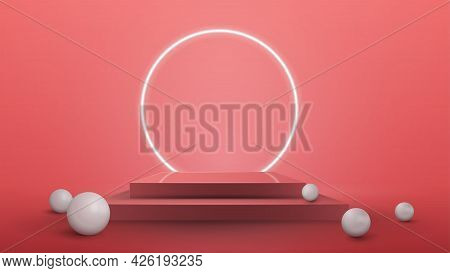 Empty Square Podium With Realistic Spheres And Neon Ring On Background