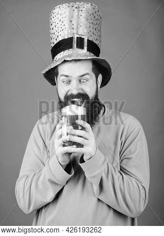 Alcohol Beverage. Irish Tradition. Man Brutal Bearded Hipster Drink Beer. Irish Pub. Drinking Beer P
