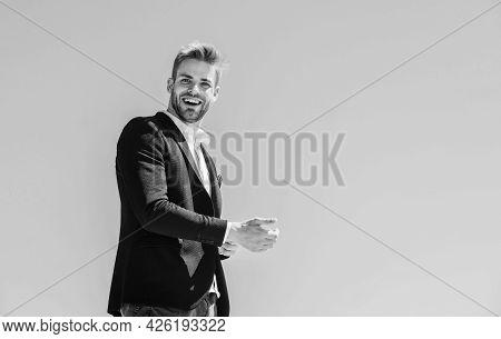 Bearded Man. Successful Businessman. Handsome Man Wear Suit. Fashion Shop. Young Entrepreneur Busine