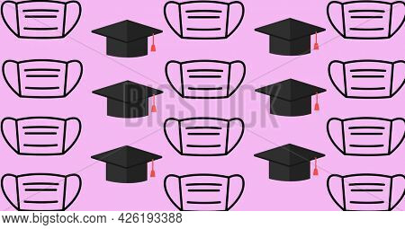 Composition of mortar boards and face masks repeated in rows, on pink. school, education and study during coronavirus covid 19 pandemic concept digitally generated image.