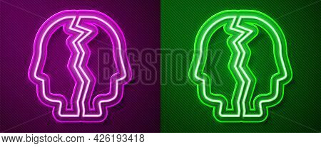 Glowing Neon Line Bipolar Disorder Icon Isolated On Purple And Green Background. Vector