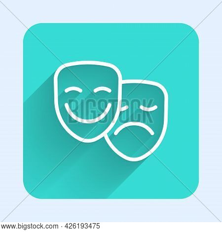White Line Comedy And Tragedy Theatrical Masks Icon Isolated With Long Shadow Background. Green Squa