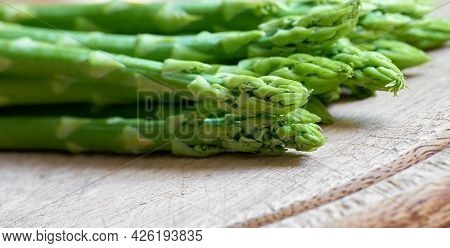 Fresh Green Asparagus From An Asparagus Field As An Ingredient In A Kitchen