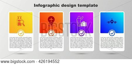 Set Lost Baggage, Plane, Tourist With Suitcase And . Business Infographic Template. Vector