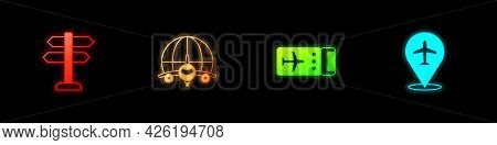 Set Road Traffic Sign, Globe With Flying Plane, Airline Ticket And Plane Icon. Vector