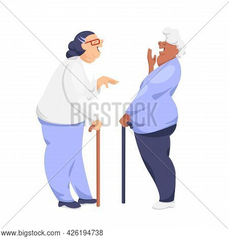 An Old Woman. Vector Image Of Two Old Happy Women. The Dialogue Of Two Grandmothers