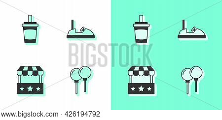Set Balloons With Ribbon, Paper Glass Water, Ticket Box Office And Bumper Car Icon. Vector