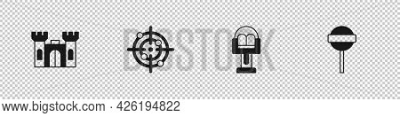 Set Castle, Target Sport, Attraction Carousel And Lollipop Icon. Vector