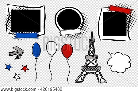 Set Of Comic Photo Frames And Elements For France Events. Cartoon Empty Cloud For Text. Pop Art Vect