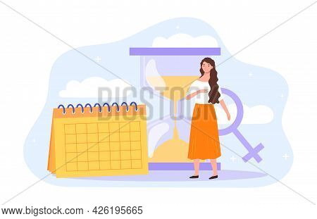 Young Female Character Is Scared Of Women Biological Clock. Woman Standing With Calendar And Sand Cl