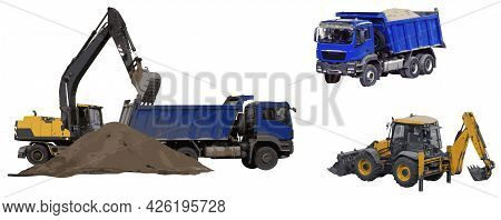 The Excavator Lifts And Dumps The Soil Into The Dump Truck Body. Backhoe Loader, Full Body Dump Truc
