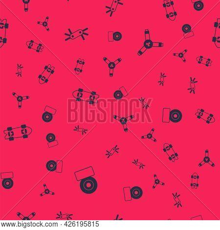 Set Skateboard Wheel, Tool Allen Keys, Longboard Or Skateboard And Y-tool On Seamless Pattern. Vecto