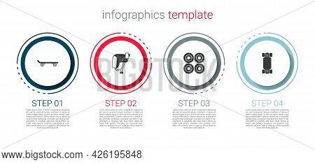Set Skateboard, Helmet, Wheel And Longboard Or Skateboard. Business Infographic Template. Vector