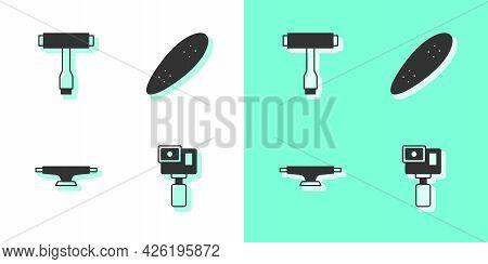 Set Action Camera, Skateboard T Tool, Wheel And Longboard Or Skateboard Icon. Vector