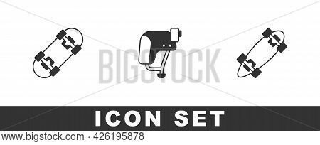 Set Skateboard, Helmet And Longboard Or Skateboard Icon. Vector