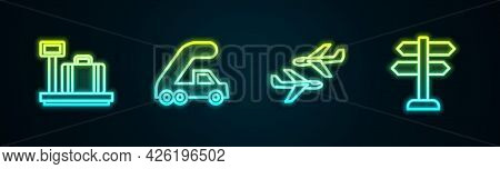 Set Line Scale With Suitcase, Passenger Ladder For Plane Boarding, Plane And Road Traffic Sign. Glow