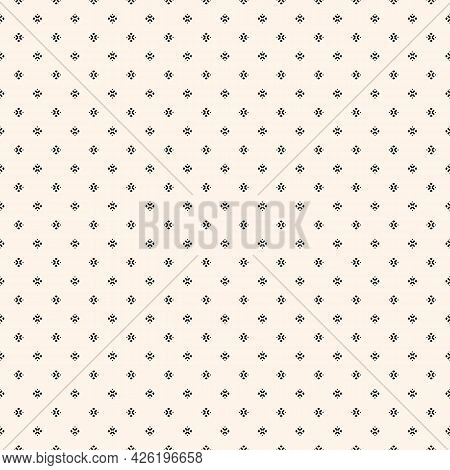 Vector Minimalist Background. Simple Geometric Seamless Pattern With Tiny Floral Silhouettes, Small