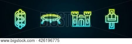 Set Line Hotdog Sandwich, Jumping Trampoline, Castle And Attraction Carousel. Glowing Neon Icon. Vec